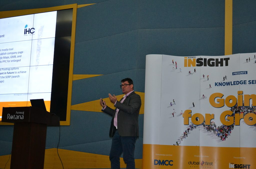 IHC's Grant King delivers Social Media presentation to over 100 business owners in Dubai